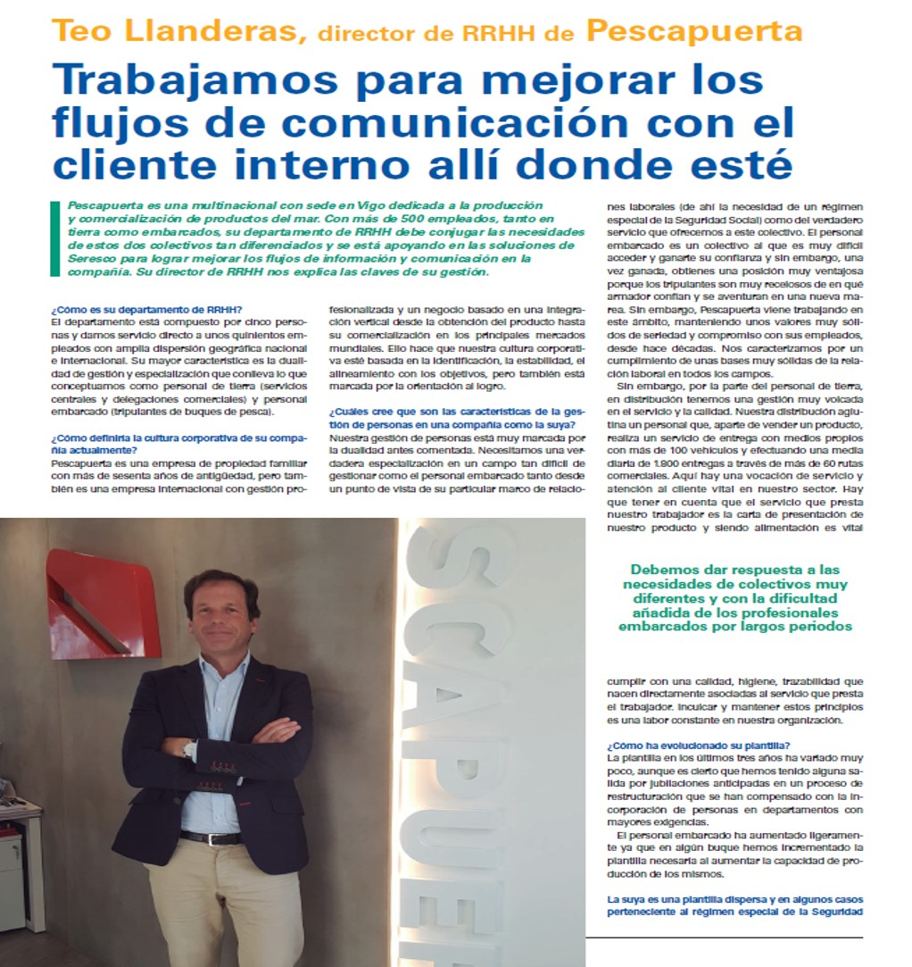 Interview with Teo de las Llanderas, HR Director in Pescapuerta, in the magazine Equipos&Talento